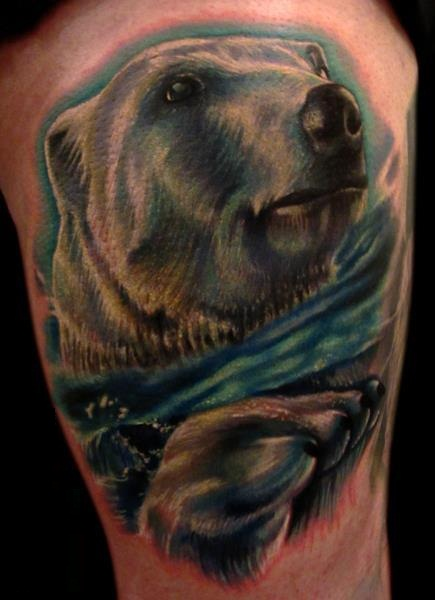 Brilliant Polar Bear Tattoo Design On Leg