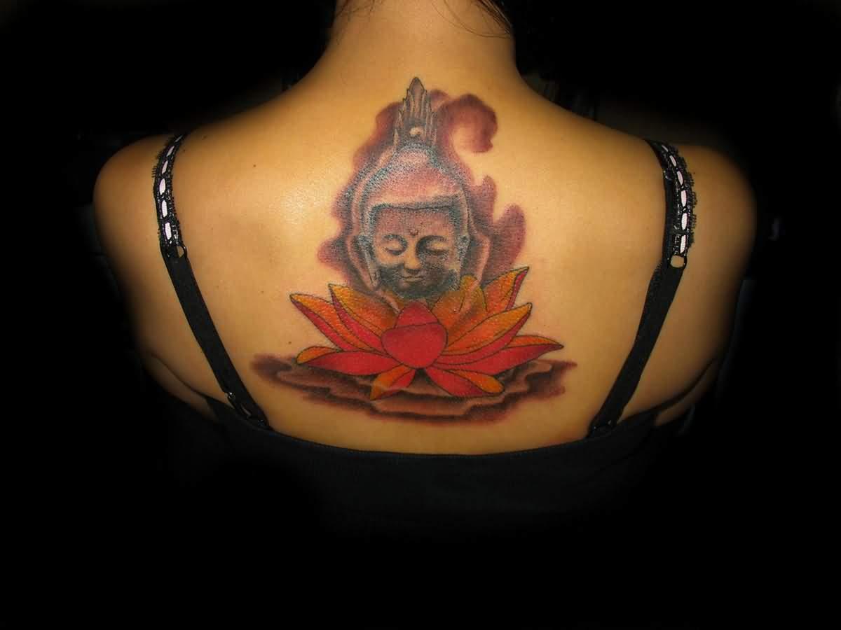 Buddha Head Tattoo And Asian Flower Tattoo For  Women