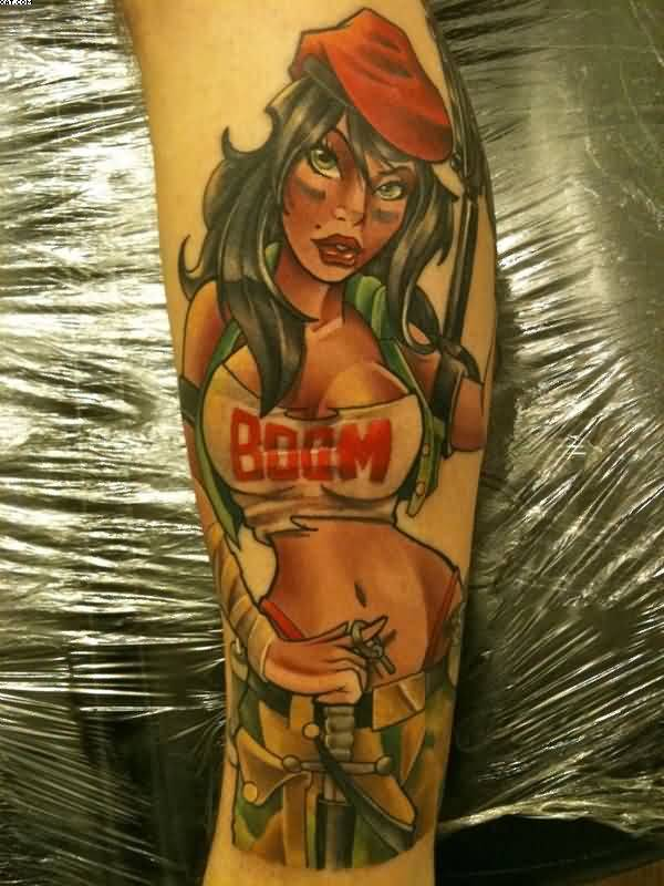 Classy Boom Text And Army Girl Tattoo On Arm