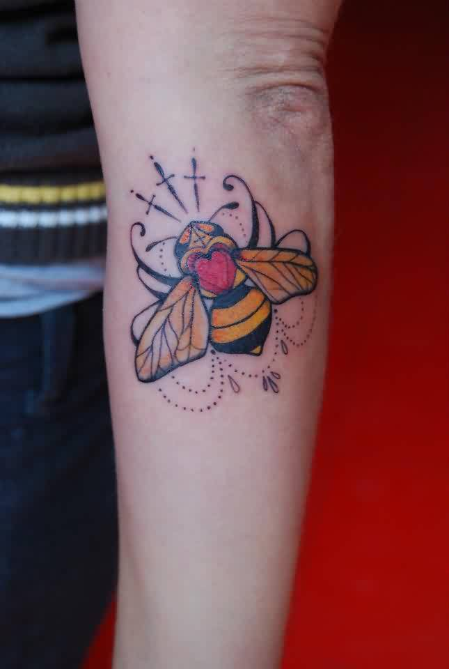 Colourful Bee And Heart Tattoo On Men's Sleeve