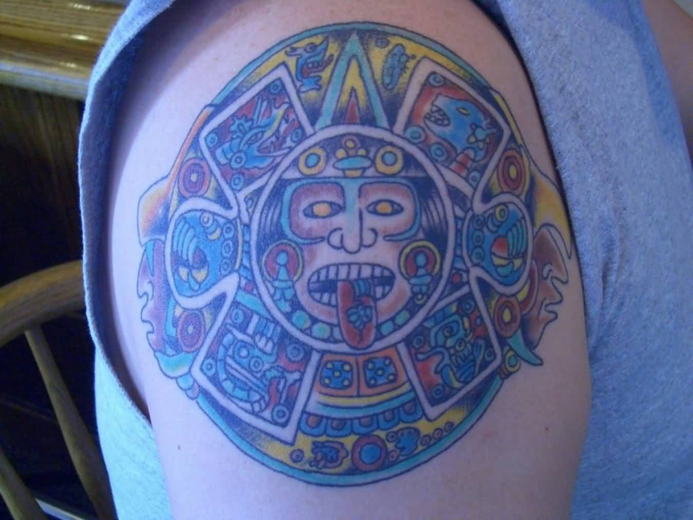 Colourful Tattoo Of Aztec Mask
