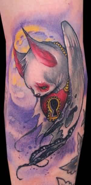 Colourful Sad Bat Tattoo On Sleeve