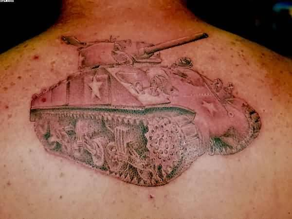 Dangerous Army Tank Tattoo On Back