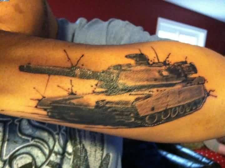 Dangerous Army Tank Tattoo On Men's Sleeve
