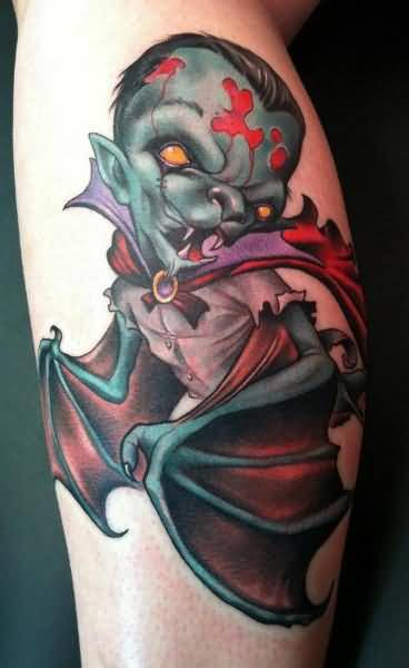 Dangerous Vampire Bat Tattoo On Lower Sleeve
