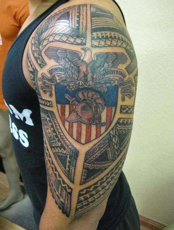 Eagle Sitting On American Flag Tattoo For Ladys Upper Arm