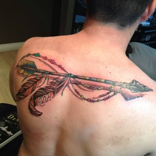 Fabulous Arrow Dreamcatcher Tattoo For Men's Back