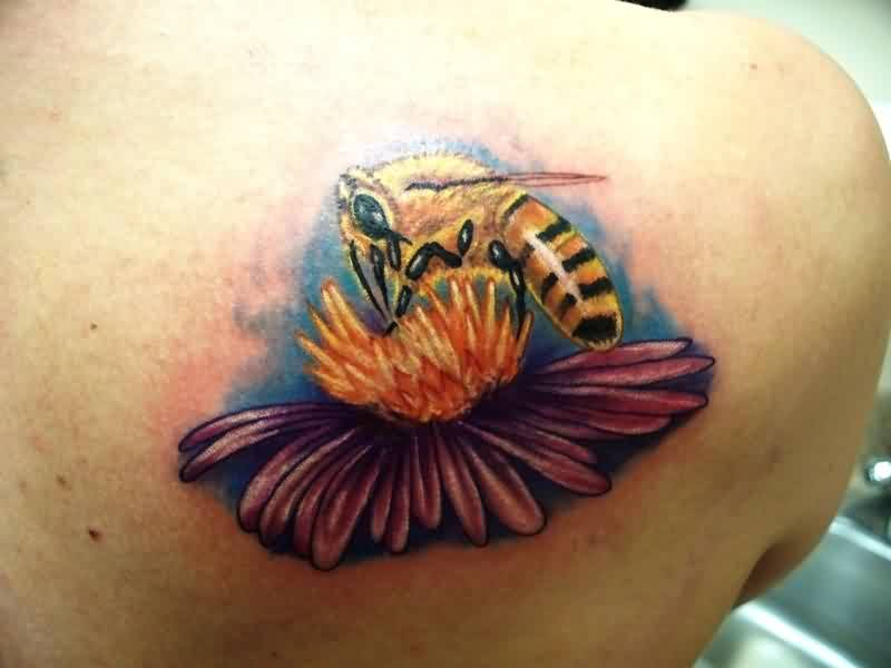 Fabulous Bee On Flower Tattoo On Back Shoulder