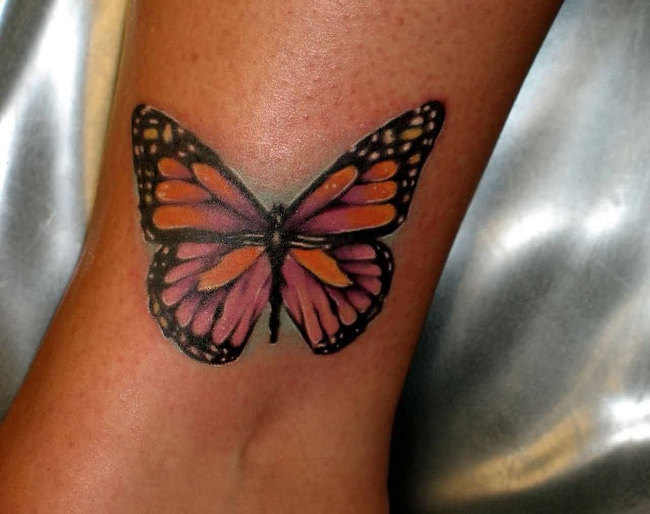 Latest Ankle Tattoo Of Butterfly