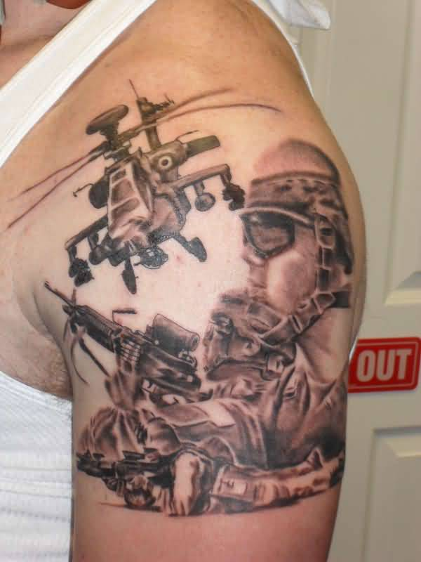 Fantastic Army Helicopter And Soldier Tattoo For Men