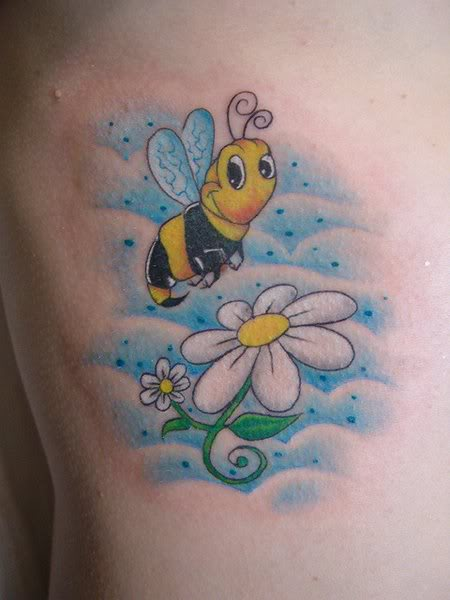 Fantastic Bee On White Flower Tattoo On Back Shoulder