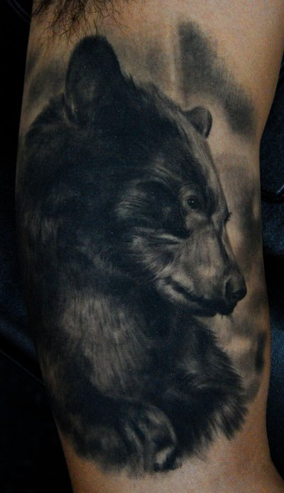 Fantastic Black Bear Tattoo For Men