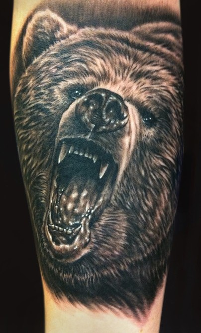 Fantastic Roaring Grizzly Bear Tattoo On Leg