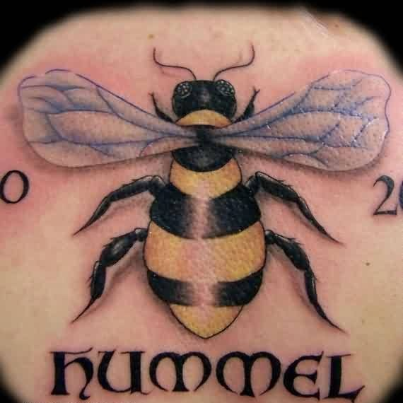 Fascinating Hummel Text And Realistic Bee Tattoo Made By Ink