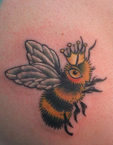 Fascinating Queen Bee And Crown Tattoo