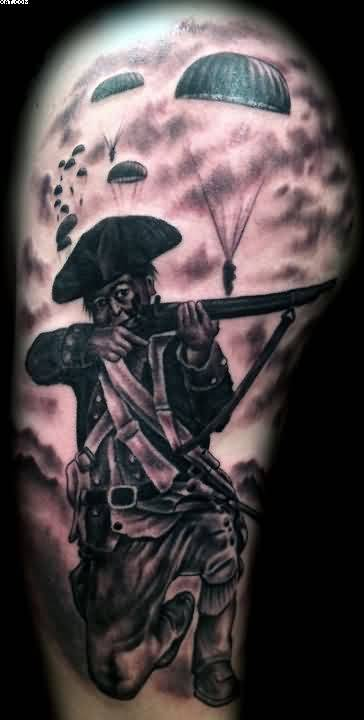 Fighting Army And Gun Tattoo On Upper Arm