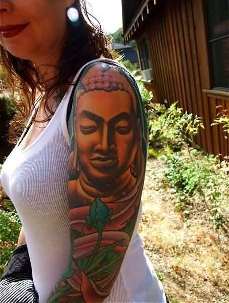 Full Arm Tattoo Of Buddha Face