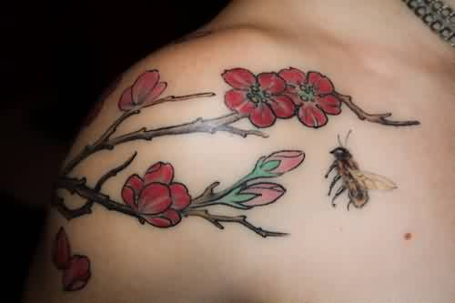 bee flower tattoo ideas and bee flower tattoo designs page 7. Black Bedroom Furniture Sets. Home Design Ideas