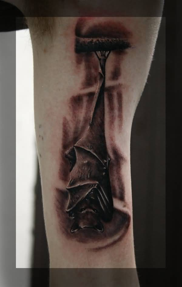 Hanging Bat Coverup With Wings Tattoo On Upper Arm