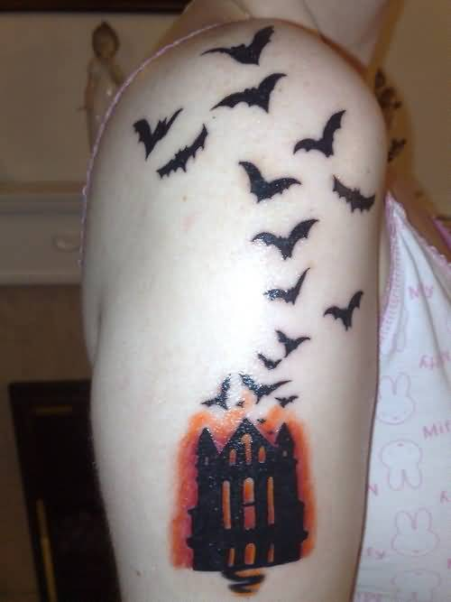 Horror House And Black Bats Tattoo On Cool Women's Upper Sleeve