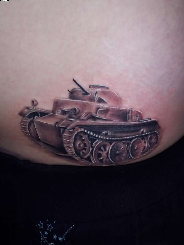 Incredible Army Tank Tattoo For Lady