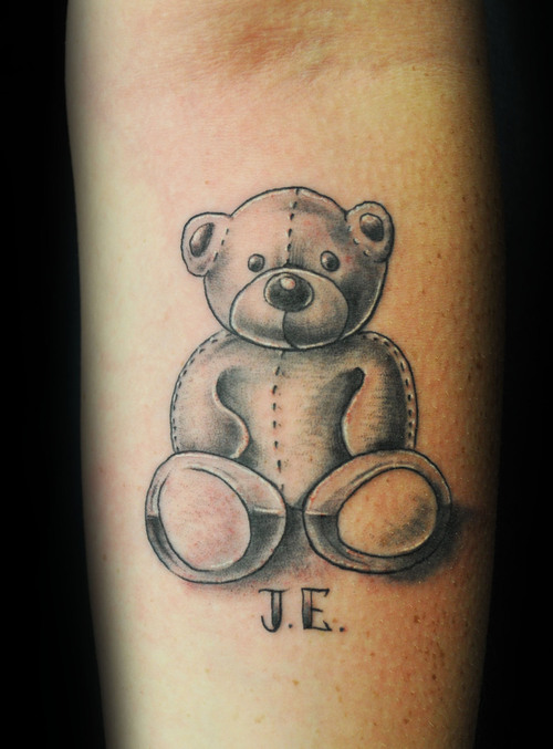 stitched wicked teddy bear tattoo photo. Black Bedroom Furniture Sets. Home Design Ideas