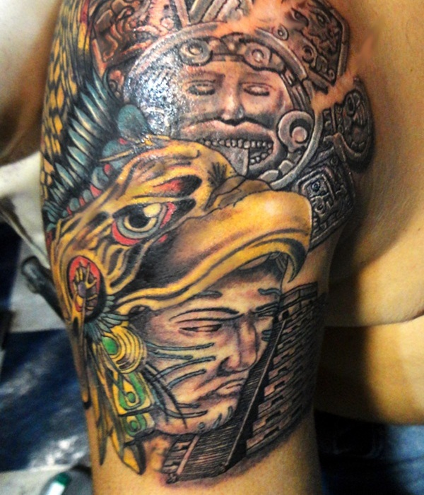 Innovative Aztec Mask And LAdy Tattoo On Men's Sleeve