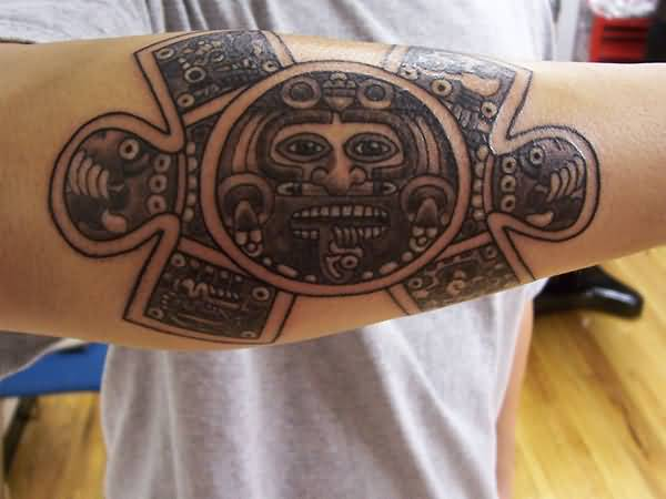 Innovative Tattoo Of Aztec Mask