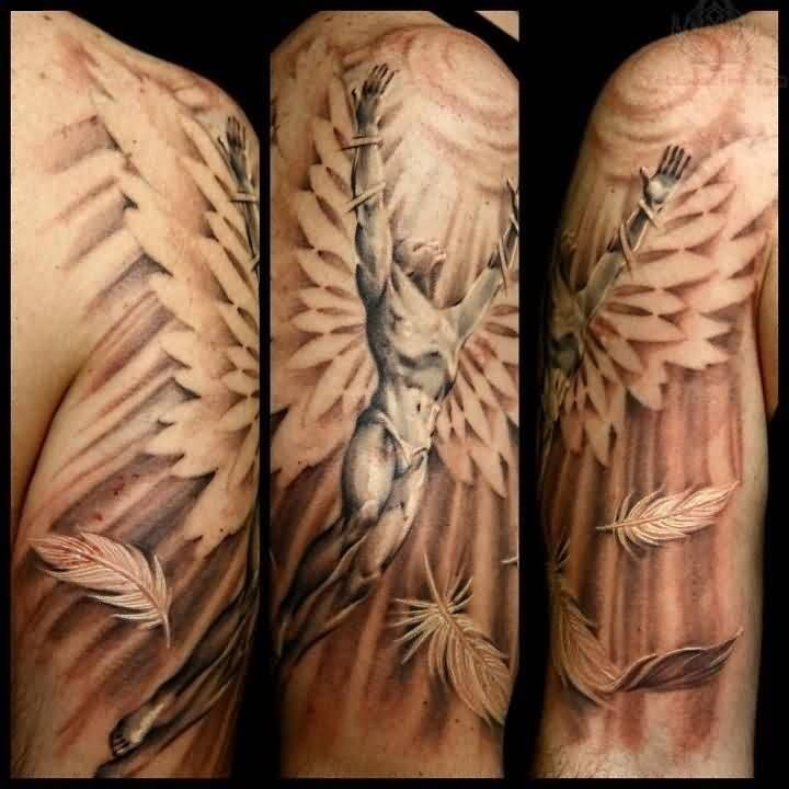 Famous Angel Wings Tattoo With Leaf