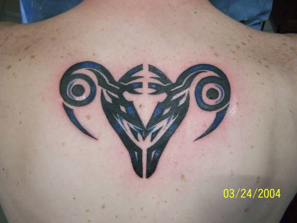 Latest Aries Tattoo Design On Upper Back
