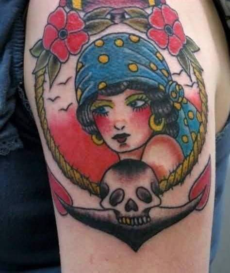 Latest Arm Tattoo Of Pirate Girl