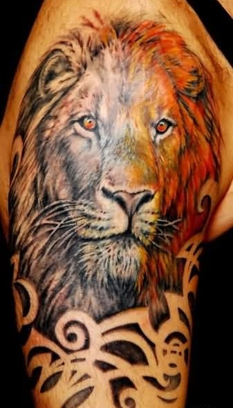 Latest Upper Arm Tattoo Of African Lion