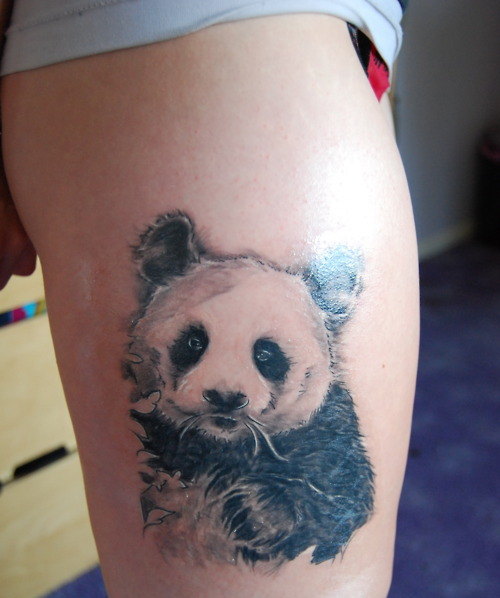 Latest Sweet Panda Bear Tattoo On Thigh