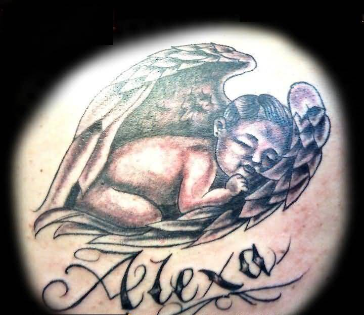Little Baby Sleeping On Wings With Alexa Name Tattoo
