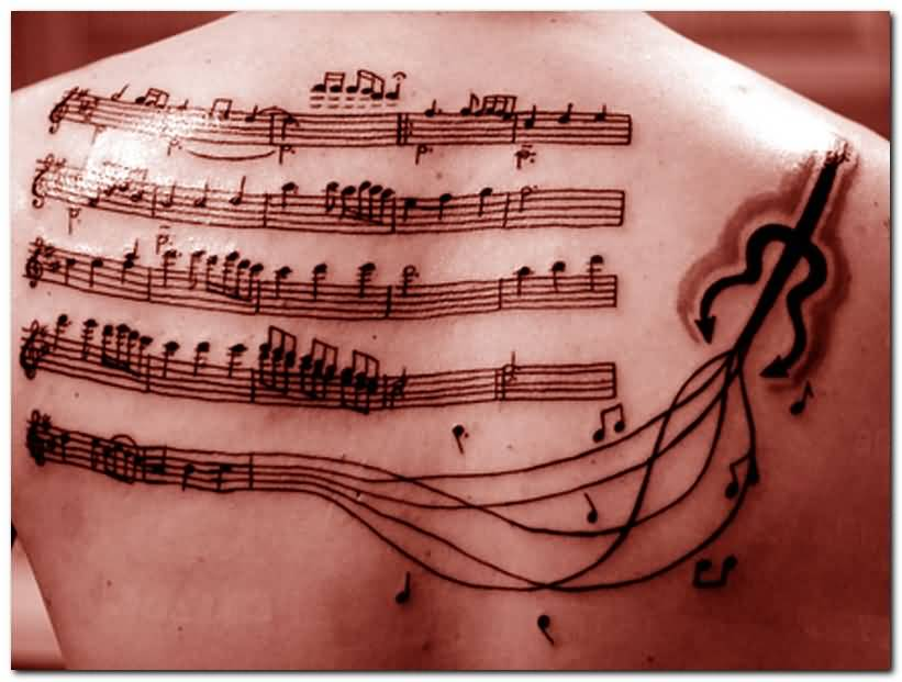Lovely Band Music Note Tattoo On Upper Back