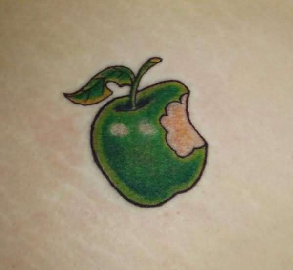 Marvelous Apple Bite Tattoo Made By Green Ink