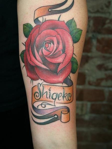 Marvelous Shigeke Banner Tattoo With Red Flower