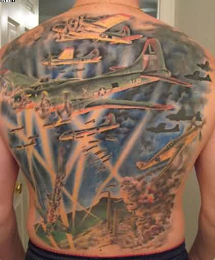 Men Back Decorated With Army Helicopter Tattoo