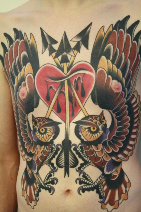 Men belly tattoo ideas and men belly tattoo designs page 5 for Owl heart tattoo