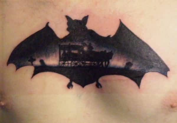 Men Chest Decorated With Black Bat Tattoo