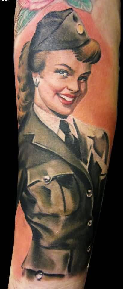 Men Shows Army Girl Tattoo