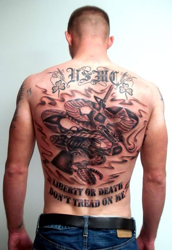 Men Shows Army Tattoo Design On Full Back