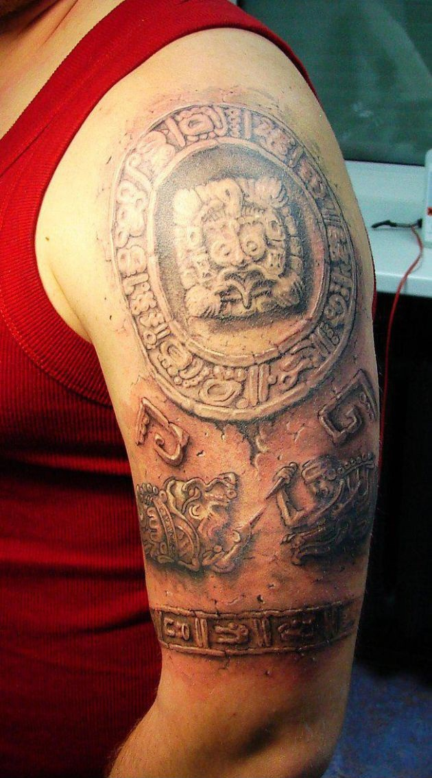 Men Sleeve Decorated With Aztec Tattoo