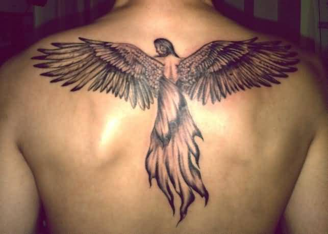 Men S Back Decorated With Angel Wings Tattoo