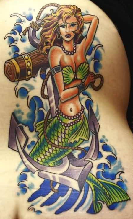 Wonderful Anchor Mermaid Tattoo