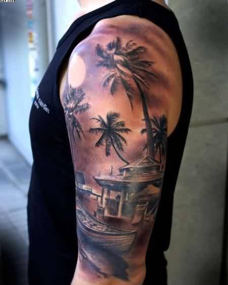Nice Asian House Tattoo On Upper Sleeve