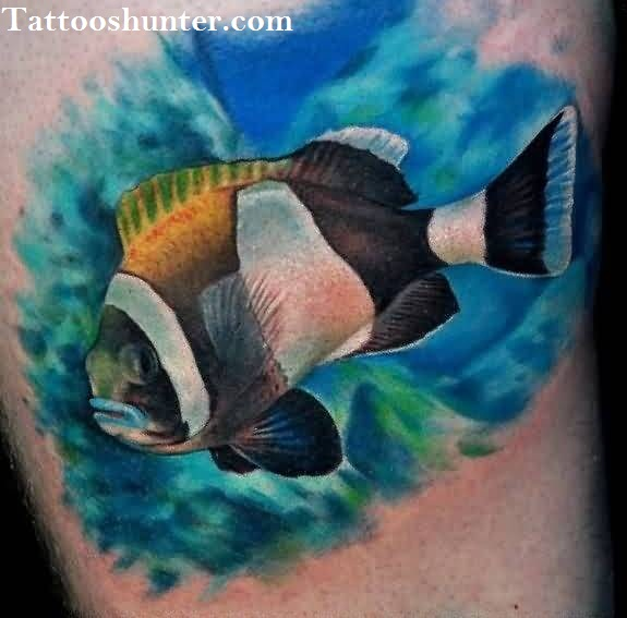 Nice Tattoo Of Aqua Fish