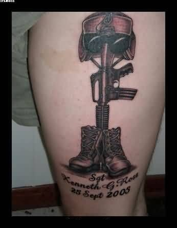 Nice Tattoo Of Army Gun