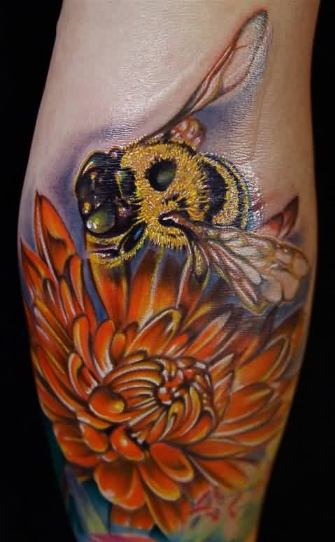 Outstanding Bee And Flower Tattoo Made By Artist