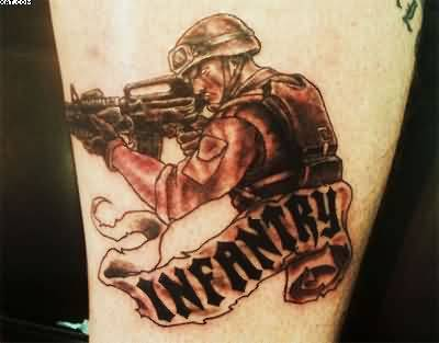 Outstanding Infantry Text And Army Gun Tattoo For Men